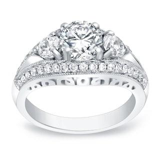 Auriya 14k Gold 2 1/5ct TDW Certified Round Cut Diamond Engagement Ring (H-I, SI1-SI2)
