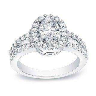 Auriya 14k Gold 1 3/5ct TDW Certified Oval Diamond Ring (H-I, SI1-SI2)