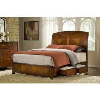 Split Panel Wood Storage Bed in Cinnamon