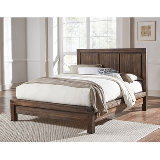 Wire Brushed Solid Wood Platform Bed in Brick Brown