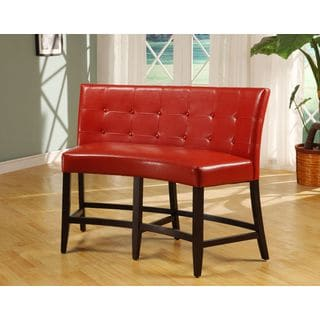 Button Tufted Counter Height Banquette in Red Leatherette