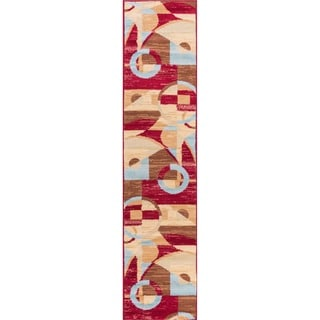 Well Woven Malibu Art Decor Modern Red Polypropylene Rug (1'8 X 7'2 Runner)