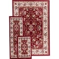 Well Woven Classic Floral Border Persian Red and Ivory Area Rug and Runner 3-piece Set (4'5 x 6'5 / 1'8 x 5' / 1'8 x 2'6)