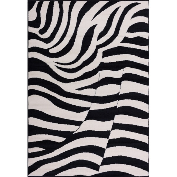 Well Woven Malibu Contempo Zebra Black Tan Modern Rug (5' x 7')