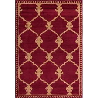 Well Woven Malibu Fleur De Lis Lattice Red Tan Rug (5' x 7')
