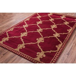 Well-woven Malibu Fleur-de-lis Lattice Trellis Red and Tan Moroccan Area Rug (8'2 x 9'10)