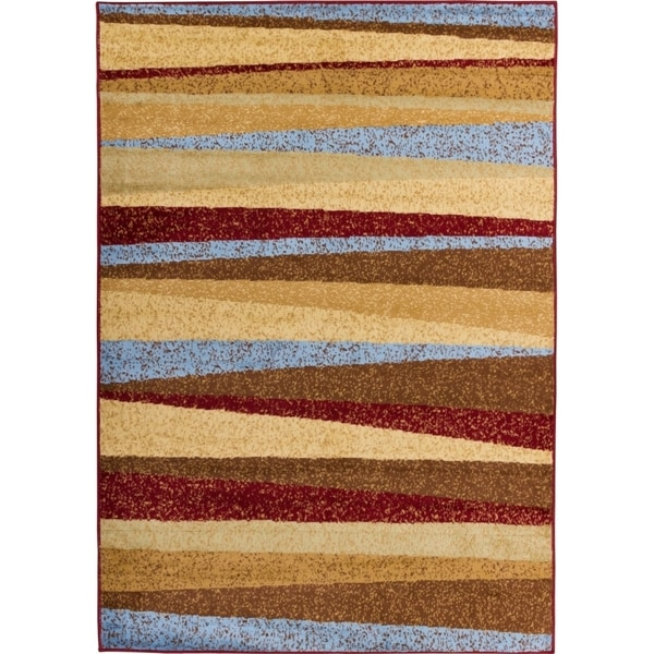 Well Woven Malibu Stripes with Lines Multi Modern Rug (4'5 x 6'5)