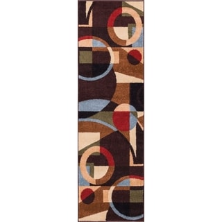 Well Woven Bright Trendy Twist Art Deco Shapes Black Modern Runner Rug (2'3 x 7'3)