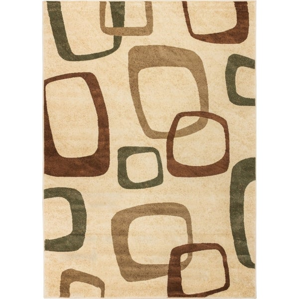 Well Woven Sublime Lines Mid Century Squares Ivory/Green Modern Rug (5'3 x 7'3)