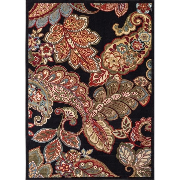 Well Woven Sublime Lines Floral Paisley Black Bold Rug (3'11 x 5'3)