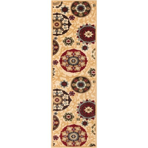 Well Woven Sublime Lines Pop Suzani Ivory Modenr Runner Rug (2'7 x 12')