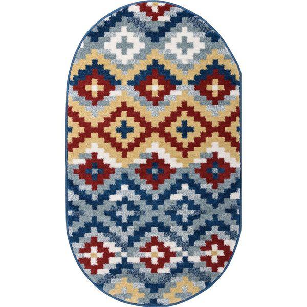 Well Woven Bright Trendy Twist Diamonds Azteca Zigzag Blue Modern Rug (2'7 x 4'2 Oval)