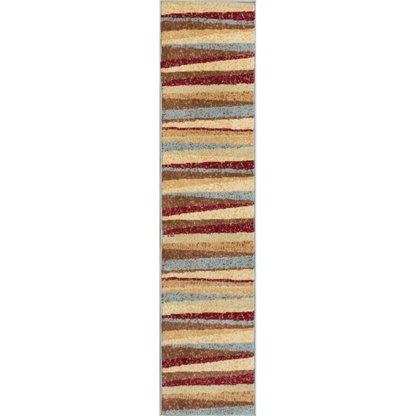 Well Woven Malibu Stripes with Lines Multi Polypropylene Rug (20 X 7'2 Runner)