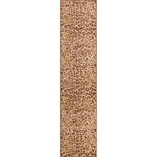 Well Woven Malibu Leopard Brown Tan Modern Rug (1'8 X 7'2 Runner)