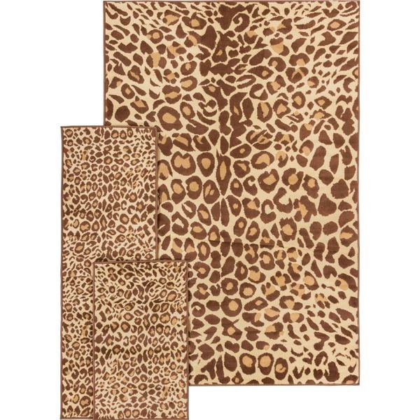 Well Woven Malibu Leopard Brown Polypropylene 3 Piece Rug Set