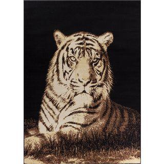 Well Woven Malibu Animal Print Tiger Beige Black Rug (5' x 7')