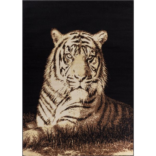 Well Woven Malibu Animal Print Tiger Beige Black Rug (5' x 7')