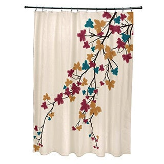 "Maple Hues Flower Print Shower Curtain (71"" x 74"")"
