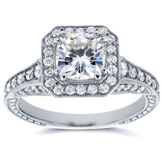 Annello 14k White Gold Cushion Moissanite and 3/5ct TDW Diamond Antique Etching Engagement Ring (G-H, I1-I2)