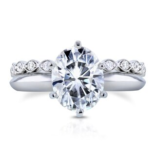 Annello 14k White Gold 2 1/10ct Oval Moissanite and 1/3ct TDW Diamond Band Bridal Set (H-I, I1-I2)