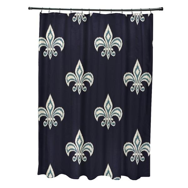 """Fleur De Lis Ikat Print Shower Curtain (71"""" x 74"""")"""
