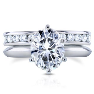 Annello 14k White Gold 2 1/10ct Oval Moissanite Solitaire and 1ct TDW Diamond Eternity Band Bridal Set (G-H, I1-I2)