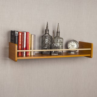 "Danya B Floating Shelf with Metal Railing - 32"" Coastal Cedar"