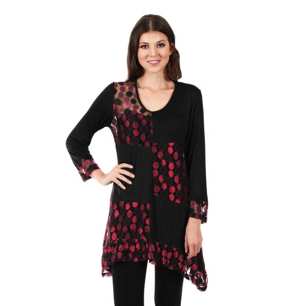 Firmiana Women's Long Sleeve Black and Red Polka Dot Tunic Large Size in Black/ Red (As Is Item)