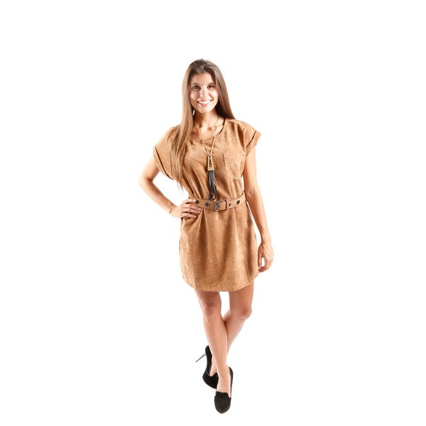 Hadari Women's Cuffed Cap Sleeve Shift Tunic Dress