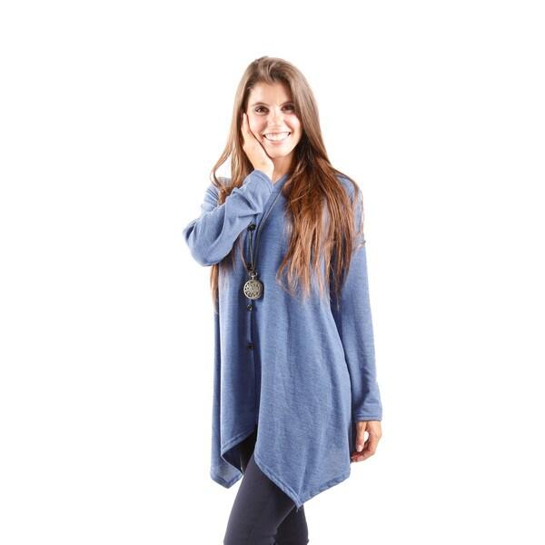 Hadari Women's Hooded Button Down Sweater With Handkerchief Hem