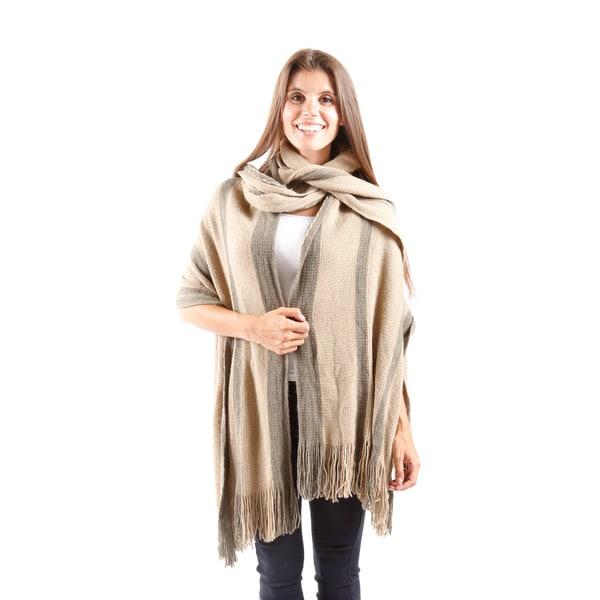 Hadari Women's Knitted Stripe Shrug With Scarf