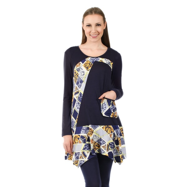 Firmiana Women's Long Sleeve Blue Multi Pocket Tunic