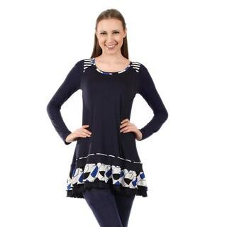 Firmiana Women's Long Sleeve Blue and White Ruffle Tunic