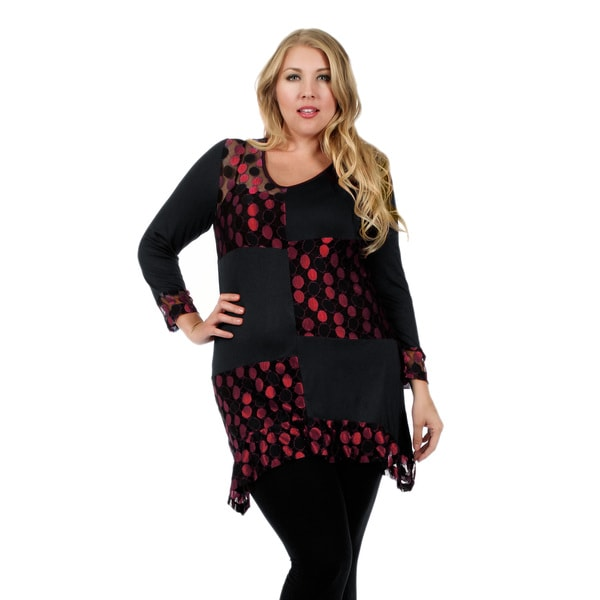 Firmiana Women's Plus Size Long Sleeve Black and Red Polka Dot Tunic