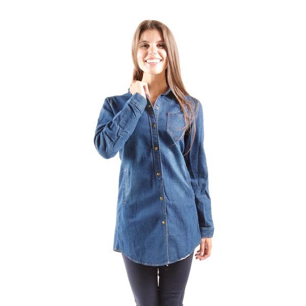 Hadari Women's Long Sleeve Button Down Denim Shirt Dress With Pockets (One Size Fits Most)