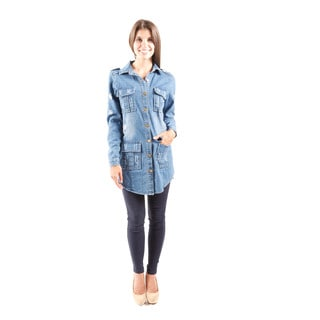 Hadari Women's Long Sleeve Distressed Button Down Shirt Dress With Pockets (One Size)