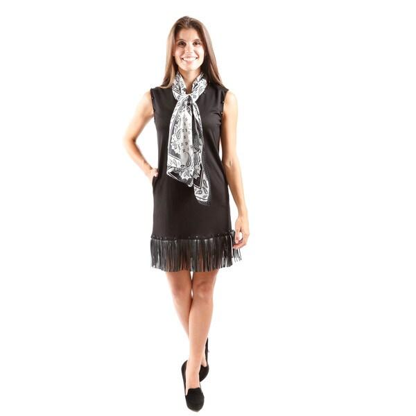 Hadari Women's Sleeveless Mini Shift Dress With Fringed Hem And Stud Detail At Neck And Sleeve (Large)