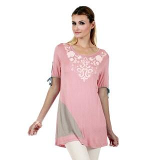Firmiana Women's Short Sleeve Pink Tunic