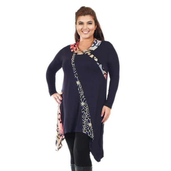 Firmiana Women's Plus Size Long Sleeve Blue Multi Cowl Neck Tunic with Sidetail