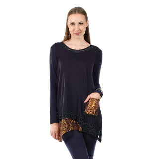 Firmiana Women's Long Sleeve Blue and Gold Pocket Tunic