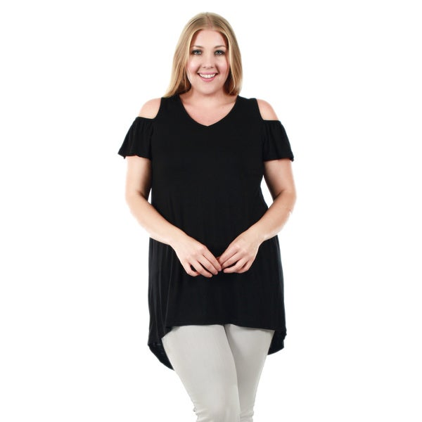 Firmiana Women's Plus Size Short Sleeve Hi-Lo Tunic