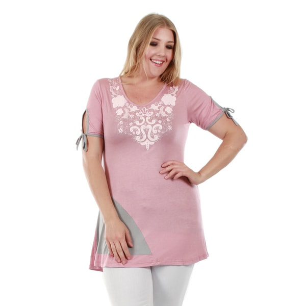 Firmiana Women's Plus Size Short Sleeve Pink Tunic