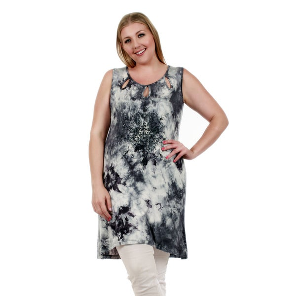 Firmiana Women's Plus Size Sleeveless Grey and White Tie-dye Tunic