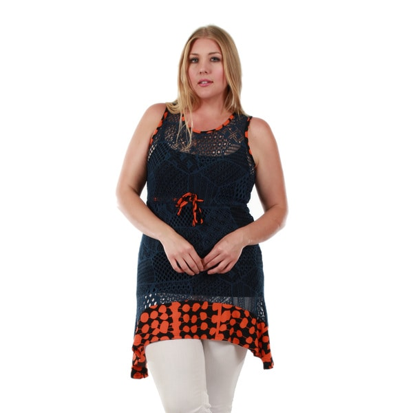Firmiana Women's Plus Size Sleeveless Blue and Orange Crochet Ruffle Tunic