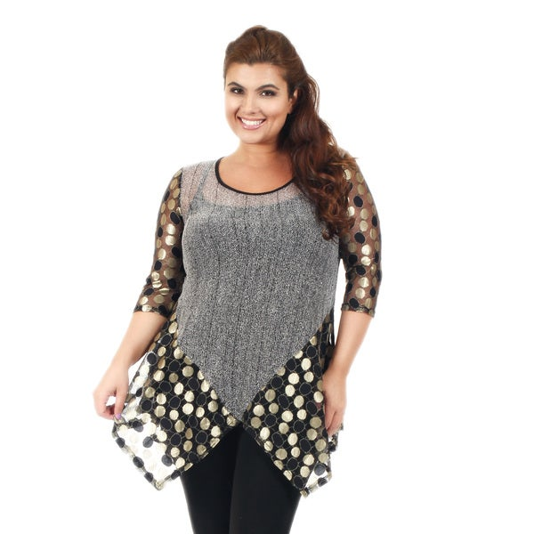 Firmiana Women's Plus Size 3/4 Sleeve Grey and Gold Polka Dot Tunic
