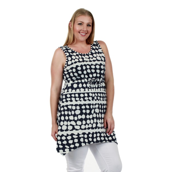 Firmiana Women's Plus Size Sleeveless Blue and White All-Over Print Tunic