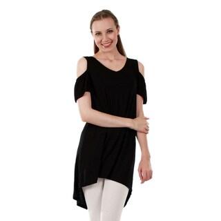 Firmiana Women's Short Sleeve Hi-Lo Tunic