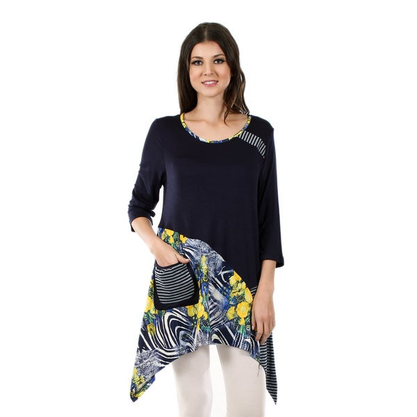 Firmiana Women's 3/4 Sleeve Blue and Yellow Sidetail Tunic