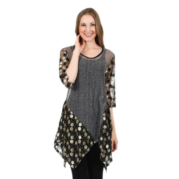 Firmiana Women's 3/4 Sleeve Grey and Gold Polka Dot Tunic