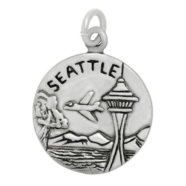 Sterling Silver Seattle Disc Charm Pendant on a Carded 18-inch sterling silver box chain